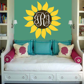 Sunflower Monogram Wall Decal | Flower Decal w/ Initials