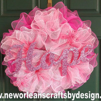 Breast Cancer Awareness Pink Deco Mesh Ruffle Wreath