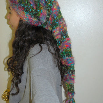 Forest Flowers...37 Inch long Pixie Fairy Forest Jungle Flowers Warm Super Soft Cozy Beautiful Knitted Hat