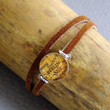 Leather Map Bracelet Wrap Sterling Silver Choose by sherrytruitt