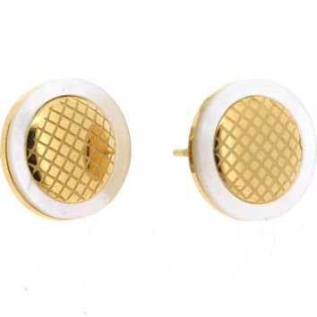 Edforce Stainless Steel and Gold Plated Stud Earring with Mother of Pearl Border and Inner Honeycomb Design