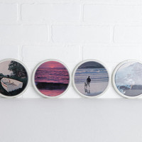 Vintage Set of Four Plastic Beach Photograph Wall Hangings or Coasters