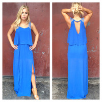Royal Blue Double Slit Jill Maxi Dress