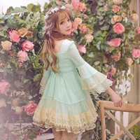 Princess sweet lolita dress Candy rain 2016 new spring  original  super fairy trumpet sleeve lace princess  dress C16AB6025