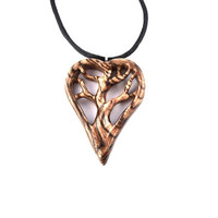 Wooden Heart Pendant, 5th Anniversary Gift, Wood Heart Necklace, Tree of Life Pendant, Tree Necklace, Wood Jewelry, Hand Carved Pendant