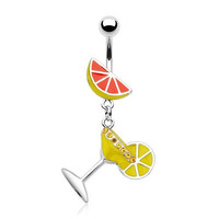 Enamel Martini Glass with Lime 14g Navel Dangle Belly Ring (Yellow)