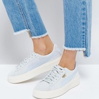 Puma Suede Platform Sneaker In Blue at asos.com