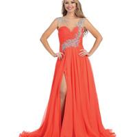 Coral Beaded Illusion Sweetheart Slit Gown 2015 Prom Dresses