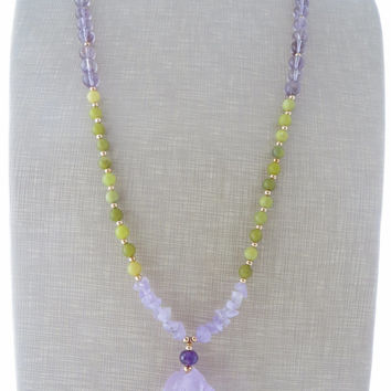 Amethyst pendant necklace, raw stone necklace, green jade necklace, purple long necklace, uk gemstone jewellery, yellow beaded necklace