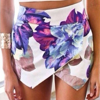 Floral Print Wraped Mini Skirt