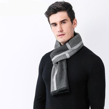 Luxury Brand Casual Men's Cashmere Scarves Winter Fashion Designer Shawl Business Casual Scarves Warm Scarf Men