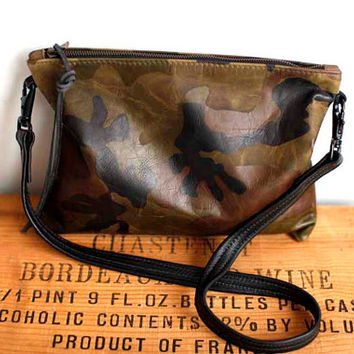 Camouflage Green Leather Bag - Army Green leather clutch - camouflage leather zipper tote