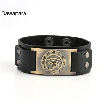 Dawapara Trendy Religious Egyptian Eye of Ra Horus Udjat Evil Eye Snap Clasp Leather Bracelet