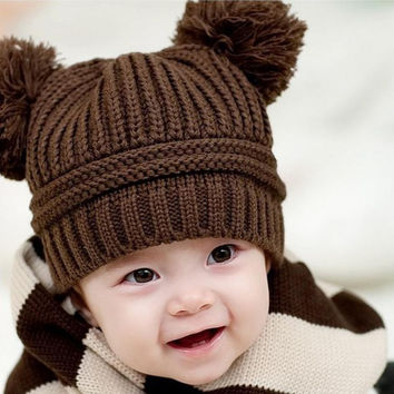 newborn baby photography props Cute Baby Kids Girl Boy Dual Balls Warm Winter Knitted Cap Hat baby bonnet kids hat topi bayi