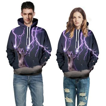 Cat Lightning All Over Print Hoodies - Unisex Novelty Couple Hoodies