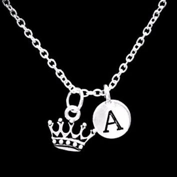 Choose Initial, Crown Queen King Daughter Niece Wife Valentine Gift Necklace