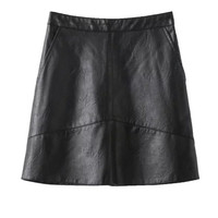 High Waisted PU Solid Color Mini Skirt