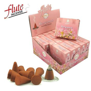 FLUTE 10 Cones/Pack Bergamot Aroma Spice Cone Incense Hand Rolled from Indian Moderate Fragrance Incense Cone For Meditation