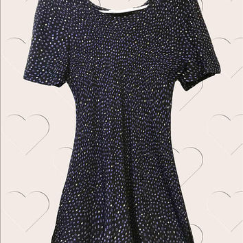 1980s Vintage Jeffrey & Dara navy blue and yellow polka dot short sleeve casual scoop neck mini dress, baby doll cocktail dress
