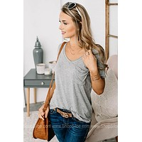 Covering The Basics Pocket Tee | Heather Grey