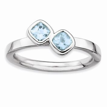 Sterling Silver Stackable Expressions Db Cushion Cut Aquamarine Ring