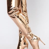 Like A Rockstar Over The Knee Boot - Rose Gold