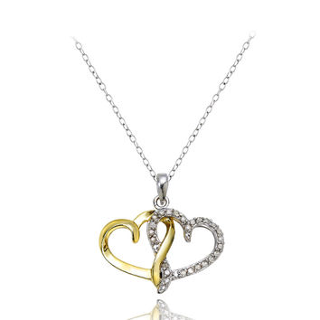 18K Gold over Silver 1/4ct Diamond Two-Tone Double Heart Necklace