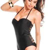 BLACK STRAPPY STRING HALTER ONE-PIECE SWIMSUIT