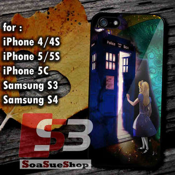 Alice Wonderland on Tardis - Hard Plastic and Rubber Case for iPhone 4/4S, 5/5S, 5C And Samsung Galaxy S3, S4