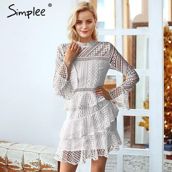 Simplee Elegant layered flounce hollow out women dress plus size Vintage o neck 2018 autumn dress Flare sleeve lace dress party
