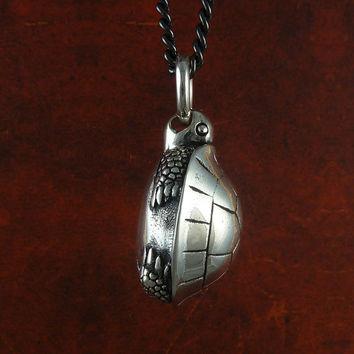 "Turtle Necklace Turtle Jewelry in Antique Silver on 24"" Gunmetal Chain"
