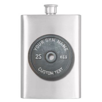 Vintage Gym Owner or User With Curved Text Funny Hip Flask