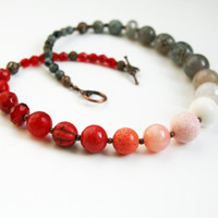 READY TO SHIP Multi Stone Statement Necklace Cranberry Jewelry Ombre Necklace