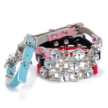 Puppy Pet Dog Cat Collars Crystal Diamond Bling Rhinestone Small Animals Necklace Accessories Pet Collar