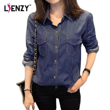 2016 Spring Vintage Women Denim Shirts Large Size With Pocket Long Sleeve Polo Neck De