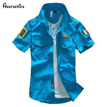 Men's Air Force Patch Augmented Short Sleeve Button Down by Asstseries