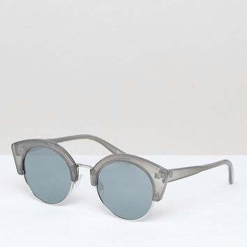 Pieces Gray Round Sunglasses at asos.com
