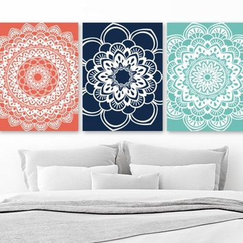 Mandala Wall Art, BATHROOM Wall Decor Canvas or Prints Mandala Medallion Wall Decor, Coral Navy Aqua Bedroom Wall Decor, Set of 3 Pictures