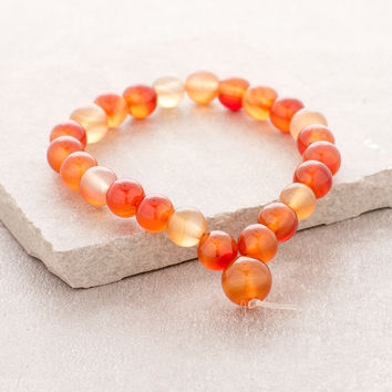High-Energy Orange Agate Wrist Mala