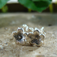 Stud Earrings Silver Cherry Blossoms