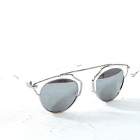 Round Sunglasses with Metal Brow Bar