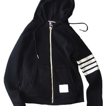 Black Contrast Stripe Zip Up Hoodie