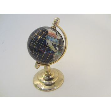 World Globe Cobalt Lapis Rainbow Mother of Pearl Brass Stand