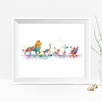 Lion King Art Print Lion King Poster Watercolor Painting Disney Simba Print Gift Wall Art Nursery Room Home Decor Digital Download