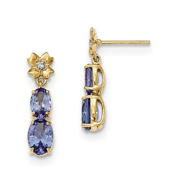 14k Yellow Gold Tanzanite And Diamond Post Dangle Earrings