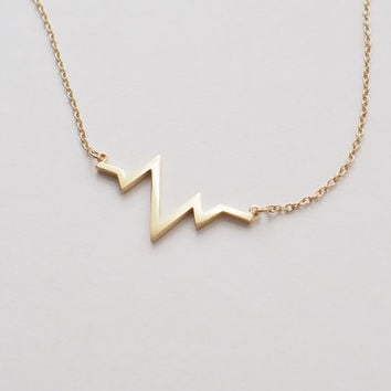 HeartBeat Necklace, ECG Necklace , Delicate Minimalist Necklace in Sterling Silver, Gold, Rose Gold D98