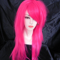 20% OFF SALE / Neon Hot Pink / Long Straight Layered Wig