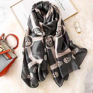 Skull Head Scarf Women Pink Black Satin Silk Soft 180*90cm