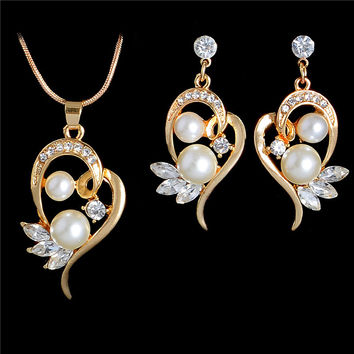 18K Gold Plated Full Crystal Pearl Jewelry Set