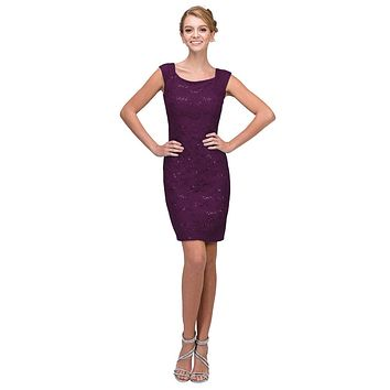 Plum Above Knee Lace Fitted Cocktail Dress Tank Strap